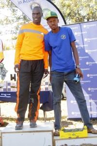 Winner of the Open Men's 21km event on the left : Phuti Mohale and runner up Lucky Maohlo